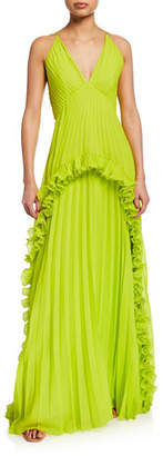 Halston Pleated Halter Gown with Ruffled Trim