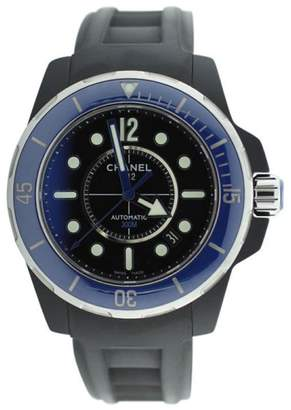 Chanel Black and Blue Rubber Clad J12 Marine Watch