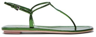 Prada Metallic Leather T Bar Sandals - Womens - Green