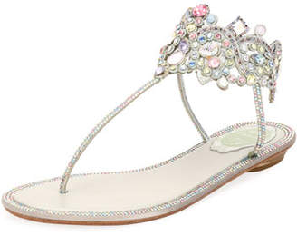 Rene Caovilla Flat Thong Sandal with Multi-Crystal Ankle Wrap
