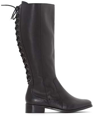 e326342fb15 CASTALUNA PLUS SIZE Wide Fit Leather Boots with Lace Up Back