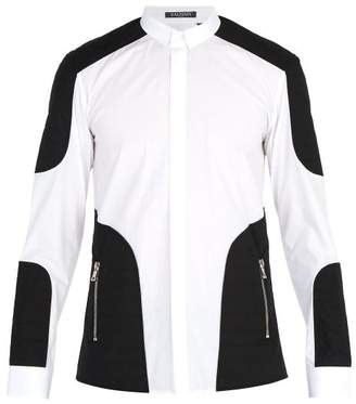 Balmain Quilted Panelled Cotton Poplin Shirt - Mens - White