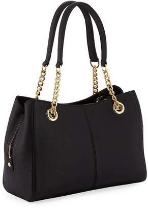 Iconic American Designer Pebbled Leather Chain-Strap Satchel Bag