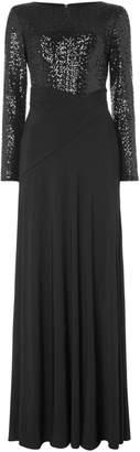 Lauren Ralph Lauren Sleeveless sequin top wrap jersey gown