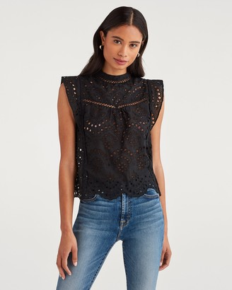7 For All Mankind Eyelet Sleeveless Top in Jet Black