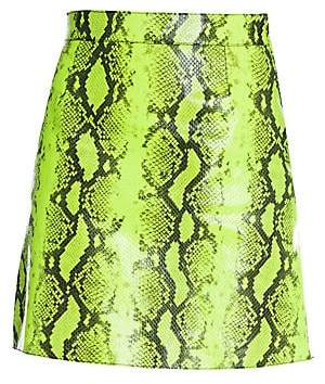 Off-White Women's Python-Print Leather Skirt