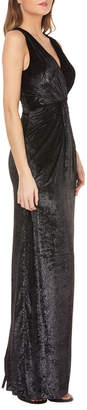 JS Collections Sleeveless V-Neck Shiny Velvet Column Gown w/ Twist Detail