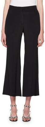 Valentino High-Rise Flared-Leg Cropped Silk Pants