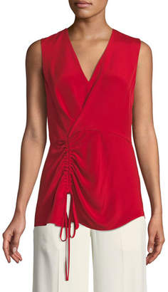 Derek Lam V-Neck Sleeveless Asymmetrical-Ruched Silk Blouse