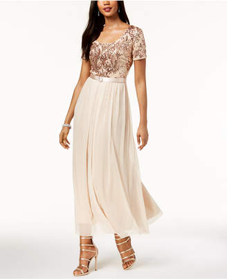 R & M Richards Belted Sequined & Chiffon Gown