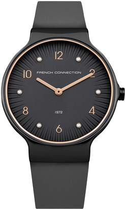 French Connenction Stone Face Leather Strap Watch