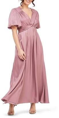 Gal Meets Glam Genevieve Empire Waist Pleated Maxi Dress