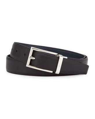 Prada Saffiano Reversible Belt, Black/Blue $480 thestylecure.com