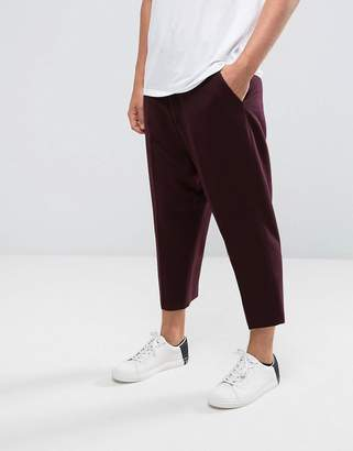 Asos DESIGN Drop Crotch Tapered Smart Pants In Burgundy Twill