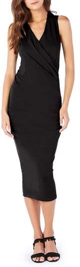 Faux Wrap Midi Dress