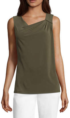Liz Claiborne Drape Neck Pleated Knit Tank Top