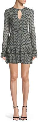Alexis Alba Printed Keyhole Flounce Mini Dress