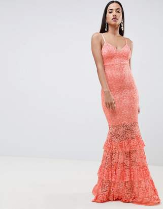 Asos Design DESIGN lace tiered maxi dress