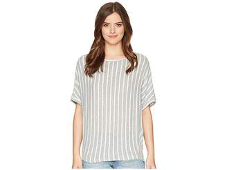 Michael Stars Madison Brushed Stripe Elbow Sleeve Boat Neck