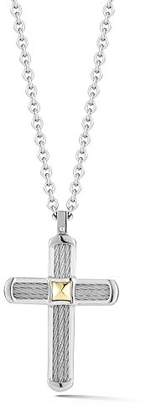 Alor Men's Cable Cross On Chain With Yellow Gold
