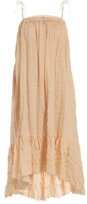 Lisa Marie Fernandez Nicole Gathered Striped Cotton Blend Dress - Womens - Orange Stripe