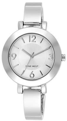 Nine West 1631SVSB Silvertone Semi-Bangle Bracelet Watch