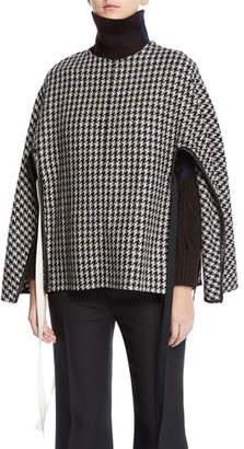 Derek Lam Houndstooth-Wool Side-Tie Poncho Sweater