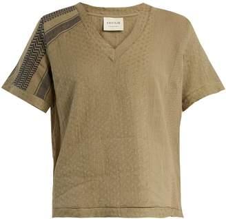 CECILIE COPENHAGEN Villablack scarf-jacquard A-line cotton top