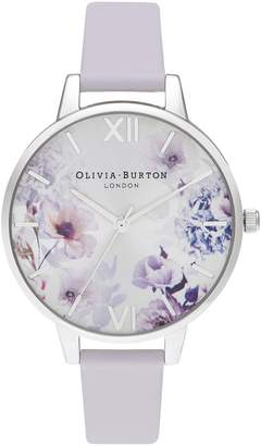 Olivia Burton Sunlight Florals Leather Strap Watch, 34mm