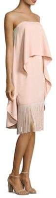 Aidan Mattox Crepe& Fringe Knee-Length Dress