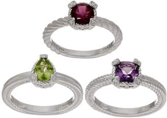 Judith Ripka Sterling Set of 3 Gemstone Rings