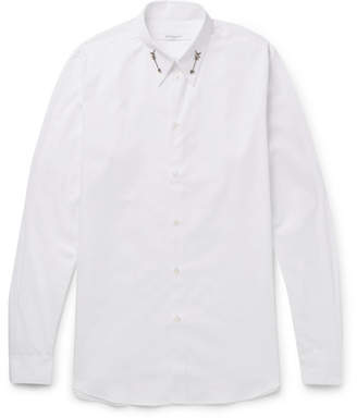 Givenchy Slim-Fit Arrow-Embellished Cotton-Poplin Shirt - White