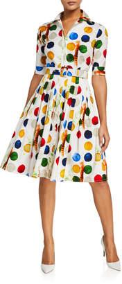 Samantha Sung Audrey Impressionist Dots 1/2-Sleeve Stretch Cotton Shirtdress