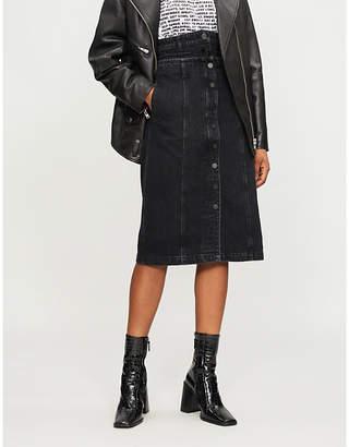 Mo&Co. High-rise faded-wash denim midi skirt