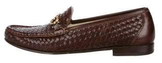 Salvatore Ferragamo Woven Leather Gancini Loafers