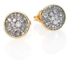 Ice Diamond Pleve Ice Diamond& 18K Yellow Gold Button Earrings