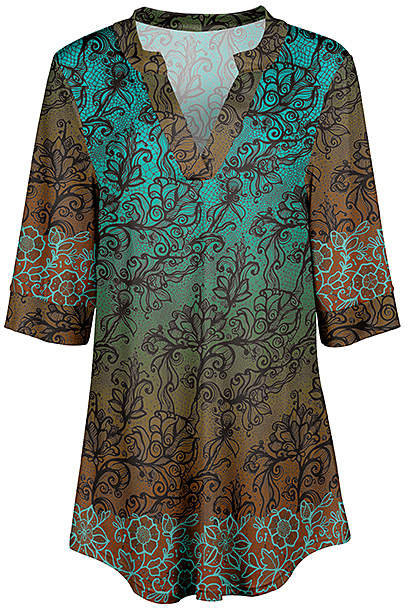 Teal & Rust Abstract Notch Neck Tunic - Women & Plus