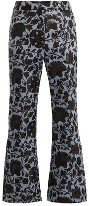 Erdem Eda Floral Jacquard Flared Trousers - Womens - Black Blue