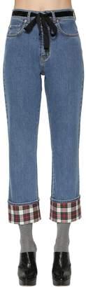 Isa Arfen Cotton Denim Jeans W/ Plaid Details
