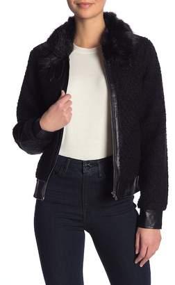 William Rast Faux Shearling & Faux Fur Collar Avaitor Jacket
