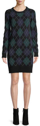 Michael Kors Crewneck Long-Sleeve Argyle Cashmere Sweater Dress
