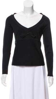 Herve Leger Bow Long Sleeve Top