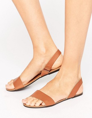 ASOS FARO Leather Sling Back Flat Sandals $28 thestylecure.com