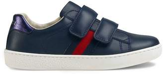 Gucci Kids Children's leather sneaker with Web
