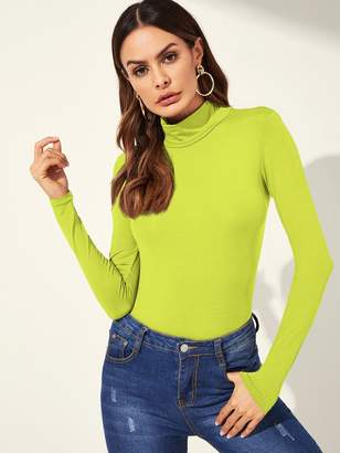 Shein Neon Lime High Neck Solid Tee