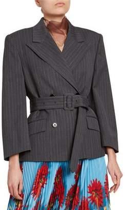 Dries Van Noten Pinstriped Oversized Belted Jacket