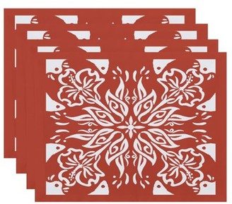 Simply Daisy, 18 x 14 inch, Cuban Tile 3, Geometric Print Placemat (Set of 4), Red Orange