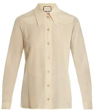 Gucci Pintuck Detail Silk Crepe De Chine Shirt - Womens - Cream