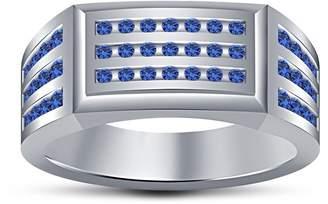 Gents TVS-JEWELS TVS-Jewles Round Cut Blue Heat Treated Sapphire Platinum Plated 925 Sterling Silver Three-Row Wedding Ring (13.5)