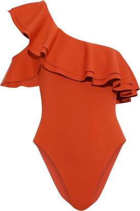 Onia + We Wore What Stella One-shoulder Ruffled Swimsuit